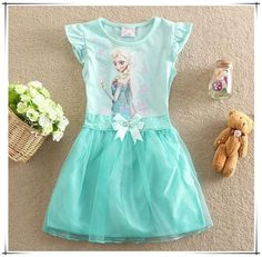 Retail 2015 Summer Baby girl The Snow Queen Diamond Anna Elsa dress for child's wear Toddler tutu princess dresses 2-8 years