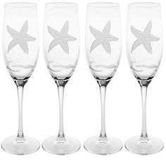 Elegant double etched design gives more detail to this classic starfish design on our set of four, 8 oz. flute glasses. Wine Glass Set, Cut Glass, Flute Glasses, Crystal Glassware, Old Fashioned Glass, Glass Design, Custom Jewelry, Crystals, Starfish