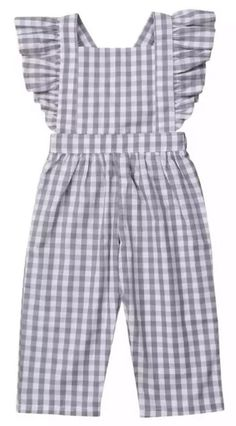 Toddler Girl Plaid Jumpsuit - - Toddler Girl Plaid Jumpsuit Stylish Jumpsuits Your toddler girl will surely look fabulous with this ruffled jumpsuit. Stylish plaid design is perfect for your little fashionista. Frocks For Girls, Dresses Kids Girl, Little Girl Outfits, Little Girl Fashion, Toddler Outfits, Kids Outfits, Baby Dresses, Peasant Dresses, Dress Girl