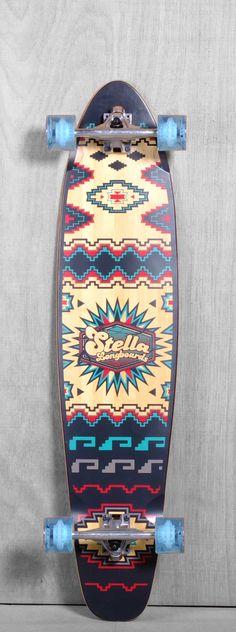 "Stella 42"" Bamboo Kicktail Santa Fe Longboard Complete"