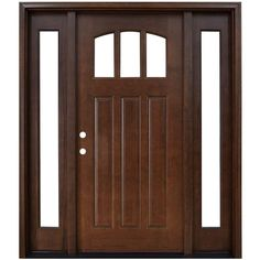 Steves & Sons 64 in. x 80 in. Craftsman 3 Lite Arch Stained Mahogany Wood Prehung Front Door with Sidelites, Hickory
