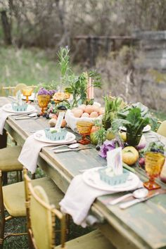Pretty Pastel Farm Wedding Inspiration - All About Decoration Farm Table Decor, Decoration Table, Farm Tables, Wood Tables, Rustic Table, Dining Tables, Side Tables, Coffee Tables, Dining Room