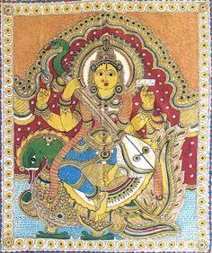 Indian Painting Styles...Kalamkari Paintings (Andhra Pradesh)-saraswati-goddess-music-knowledge-bt98_l.jpg