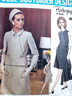 1960s STRIKING PERTEGAZ Asymmetrical Closing Jacket and Slim Dress Pattern VOGUE…