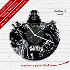 Star wars vinyl record clock, wall clock. Vinyl clock, kids clock gift idea 0043