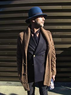 This reminds me of a good friend. I like the sweater with the jacket, it seems safe since he doesn't appear to be wearing a shirt under his jacket. This is just a fun look. Handsome Boy Modeling School, Gentlemen Wear, Street Style Blog, Sartorialist, Beard Styles, British Style, Stylish Men, Well Dressed, What To Wear