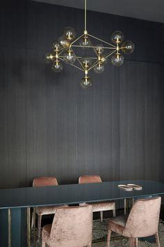 Light fixture, pink velvet chairs - Spotti Showroom, Milan, Italy - The Cool Hunter
