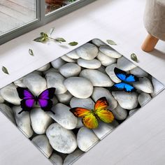 Butterfly On The Stone Pattern Indoor Outdoor Area Rug - WHITE W16INCH*L24INCH