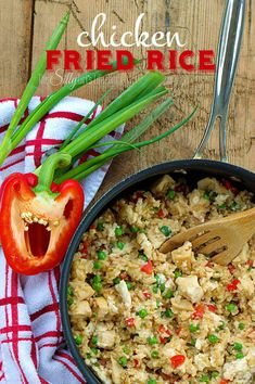 Healthy Chicken Fried Rice, a healthier alternative for fried rice, using brown rice, egg whites, veggies and more! - ThisSillyGirlsLife.com
