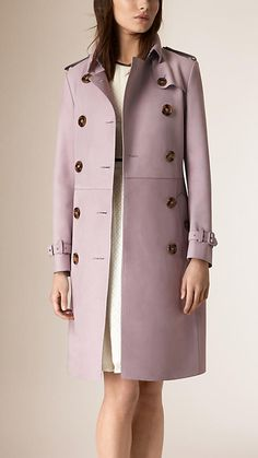Dusty mauve Long Lamb Suede Trench Coat - Image 2