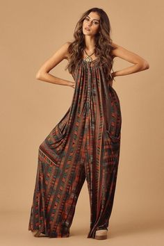 Wide Legs Boho Style Jumpsuit Boho jumpsuit, bohemian overall, hippie boutique Fashion Mode, Hijab Fashion, Trendy Fashion, Boho Fashion, Fashion Dresses, Fashion Ideas, Vintage Fashion, Style Outfits, Hippie Outfits
