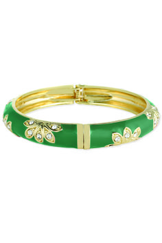 Green Enamel and Rhinestone Hinge Bracelet Gold-tone bracelet with enamel and rhinestone flower design; Features hinged design RhinestoneJewelry
