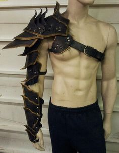 Leather Armor Barbarian Full Arm by SharpMountainLeather on Etsy