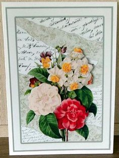 Torn French Writings Redoute Florals on Craftsuprint designed by Pauline Black - made by Cheryl French - Printed onto glossy photo paper. Attached base image to card stock using ds tape. Built up image with 1mm foam pads. A very versitile card. - Now available for download!