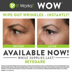 "I am super excited about our newest product!!   Wipe Out Wrinkles or WOW!  It just hit the ""shelves"" and I'm hearing excellent reviews.  -It instantly and temporarily reduces the appearance of fine lines and wrinkles  -Active peptides and proteins boost skin's firmness and elasticity  -Rehydrates skin giving a smooth plumped appearance  -Reduces appearance of under eye puffiness for a brighter looking you  Message me or email me for info on a product trial! briananhall@gmail.com"