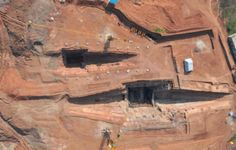 Archaeologists in China have discovered a mausoleum, dating back over 2,100 years, that contains three main tombs, including the tomb of Liu Fei (shown at bottom), the ruler of the Jiangdu kingdom in China.