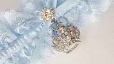 Items similar to Prince Crown Light Blue Lace Bridal Garter Elegant Rhinestone Accent Wedding Garter on Etsy Unique Wedding Favors, Unique Weddings, Wedding Ideas, Blue Wedding, Wedding Colors, Wedding Accessories, Hair Accessories, Prince Crown, Wedding Garter Set