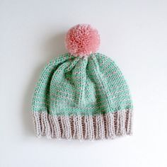 SALE The Stripe-A-Thon Beanie in Mint, Bubblegum Pink, Platinum - Made to Order