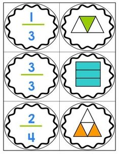 a set of 24 cards for matching fractions to pictures showing part of region.Here's a set of 24 cards for matching fractions to pictures showing part of region. Teaching Fractions, Math Fractions, Teaching Math, Comparing Fractions, Fourth Grade Math, Second Grade Math, Math Resources, Math Activities, Math Games
