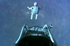 Felix Baumgartner makes the highest skydive ever Oct. 14, 2012. Crazy!