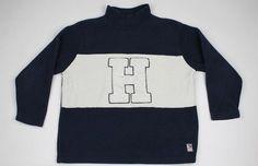 "Tommy Hilfiger Vintage ""H"" Navy White Fleece Large mens Sweater Nomcore #TommyHilfiger #Sweater"