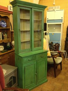 vintage dresser display bookcase cabinet cupboard up cycled French shabby chic