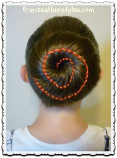 Ribbon Swirl Bun Hairstyle Tutorial - Corner of Woman Holiday Hairstyles, Quick Hairstyles, Little Girl Hairstyles, Everyday Hairstyles, Straight Hairstyles, Braided Hairstyles, Wedding Hairstyles, Ballet Hairstyles, Princess Hairstyles