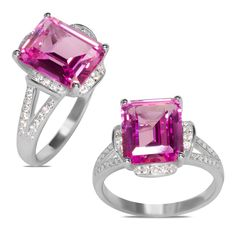 Amazon NissoniJewelry presents - .56CT White Cubic Zirconia w/ Created Pink Sapphire Silver Ring    Model Number:RLR2ECR119CPS    http://www.amazon.com/dp/B013VP0AUK