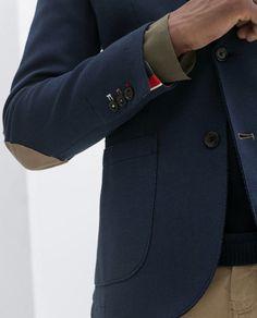 Zara Men's Blue blazer, slit with elbow patches Blazers For Men Casual, Casual Blazer, Blue Blazer Men, Zara Man, Elbow Patches, Men's Fashion, Men Sweater, Sweaters, Style