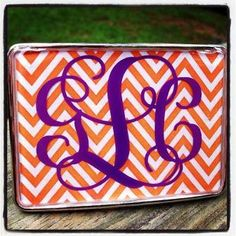 Monogrammed Belt Buckle from Honeybee Lane Designs. Perfect for the Clemson Girl! $45
