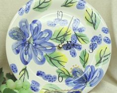 Check out Upcycled Plate Clock, Flower Theme Wall Clock,Blue, Green, Yellow and White#C6042 on ckdesignsforyou