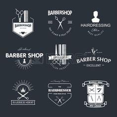 Vector retro barber shop label, badge and design element. photo