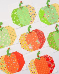 Sewing Block Quilts - Fall Sampler Quilt Sew Along - Week Today I'm showing you the Pumpkin quilt block and sharing a quick tip: Make your own Precuts! Halloween Quilt Patterns, Patchwork Quilt Patterns, Halloween Quilts, Sewing Patterns, Quilting Projects, Quilting Designs, Quilting Ideas, Pumpkin Quilt Pattern, Farm Quilt