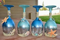 DIY-Ocean and Sea Wine Glass Candle Holders, Beach inspired wine glasses. Seashell Crafts, Beach Crafts, Summer Crafts, Diy Crafts, Wine Glass Crafts, Wine Craft, Wine Bottle Crafts, Wine Bottles, Diy Wine Glasses