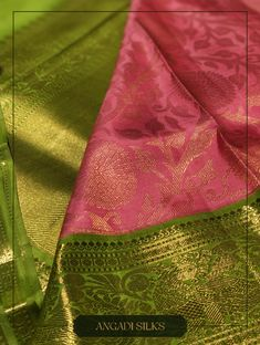 "Pink and Green, brocade gold zari saree from Angadi Silks. The Motif showcases Marigold Flower Patterns with ""Kodi"" (Creeper) with ""Mottu"" (flower buds) through the body. This #sari is apt for any pre-wedding ritual. #angadisilks #thehouseofangadi #angadi #bangalore"