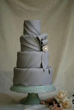 Grey Draped Wedding Cake with Ribbon & Jewel Accent