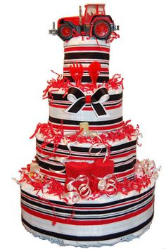 Red & Black tractor diaper cake....special gift for that new little farmer!