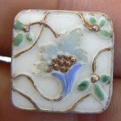 """Unusual modified square antique """"victorian glass"""" button ..."""