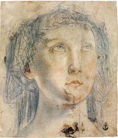 Piero del Pollaiolo Testa della Fede, 1470 carboncino (o matita nera), matita rossa, sfumino, gessetto bianco, contorni perforati a spillo, carta bianca, mm 211 x 182