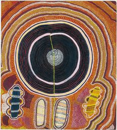 After the introduction of Masonite panels, other art teachers brought canvas and stretchers to Papunya, enabling the painters to create larger works. The exhibition's earliest painting on canvas is one from 1974 by Shorty Lungkarta Tjungurrayi. On an approximately 5-by-3-foot surface, he painted scores of overlapping whorls of different sizes in reds, yellows and pinks. The forms come out at you with exuberant energy, like sounds from a jazz orchestra.  Photo: Grey Art Gallery