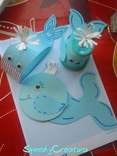 Tutorial per realizzare con i bimbi delle simpatiche balene di carta - Scritto da SpeedyCreativa per ABCBlog