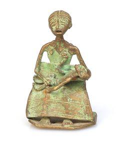 Asante/Ashante Mother and Child #1691 | Figures | Metal — Deco Art Africa - Decorative African Art - Ethnic Tribal Art - Art Deco