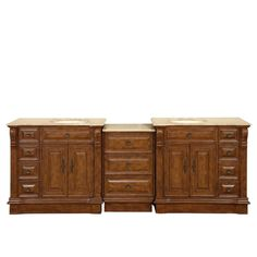 Our double sink cabinet vanity with gorgeous all natural solid travertine stone counter top and beautiful Walnut wood finish will surely give any bathroom the appeal that it deserves. Featuring our matching drawer bank cabinet for added storage and c