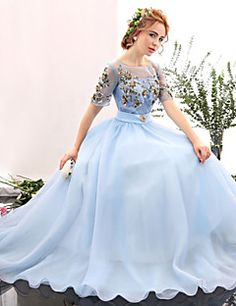 Formal Evening Dress - Sky Blue A-line Jewel Floor-length Spandex