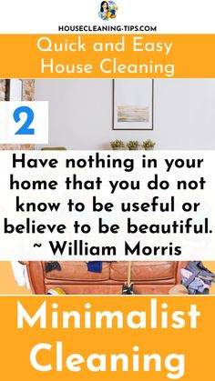 Try Practicing Your Own Version of Minimalism and Create a Home That Is Quick and Easy To Clean #minimalistcleaning William Morris, Clean House, Minimalism, Cleaning, Create, Easy