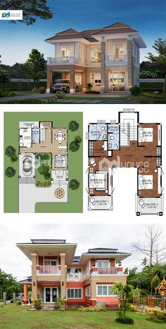 Two Story House Design, House Front Design, Tiny House Design, Home Design Floor Plans, Home Room Design, Home Interior Design, Good House, My House, Sims Building