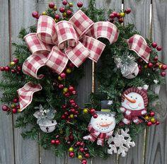 Holiday Wreath - Primitive Snowman Wreath -  Snowman Christmas Wreath with Burlap bow. $73.00, via Etsy.