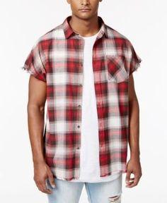 Jaywalker Men's Raw-Edge Plaid Shirt, Only at Macy's - Red XXL
