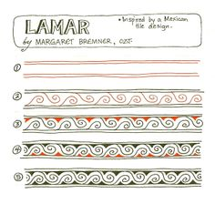 LAMAR, a Mexican tile inspired tangle by Margaret Bremner, CZT Doodle Borders, Doodle Patterns, Line Patterns, Zentangle Patterns, Doodle Ideas, Quilt Patterns, Zentangle Drawings, Doodles Zentangles, Doodle Drawings