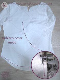 Blusa con puños en gola + molde gratis – Nocturno Design Blog Design Blog, Crop Tops, Sewing, Watches, Women, Fashion, Dressmaker, Big Sizes, Frases